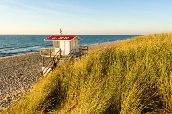 Deutschland-Sylt-Rantum-Strandwachhäuschen im Herbst