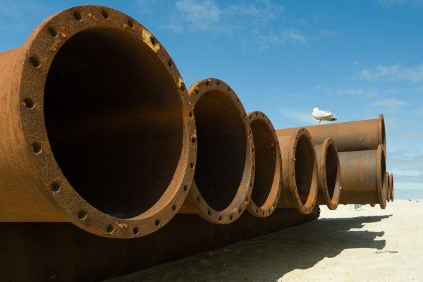 Deutschland-Sylt-Westerland-Rohre zur Sandaufspülung