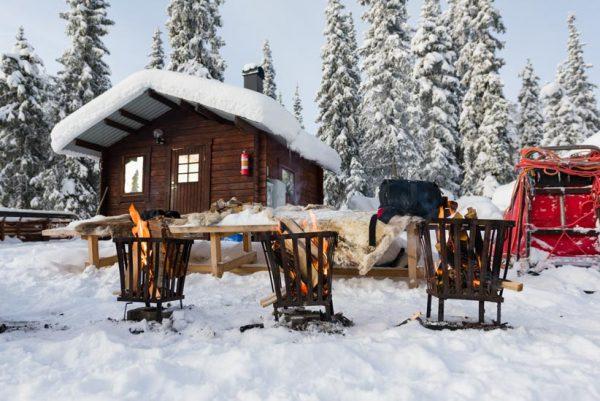 Schweden-Kiruna-Base Camp für die Schlittenhunde