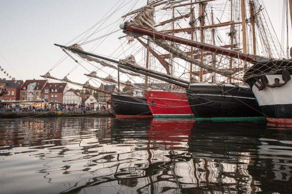 Germany, Flensburg, Rumregatta, vintage sailing ships