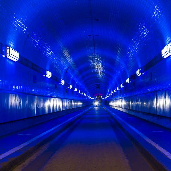 Germany, Hamburg, tunnel, blue port, lightshow