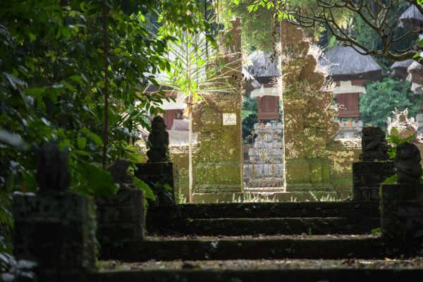Indonesien-Bali-Tempeltor im Wald