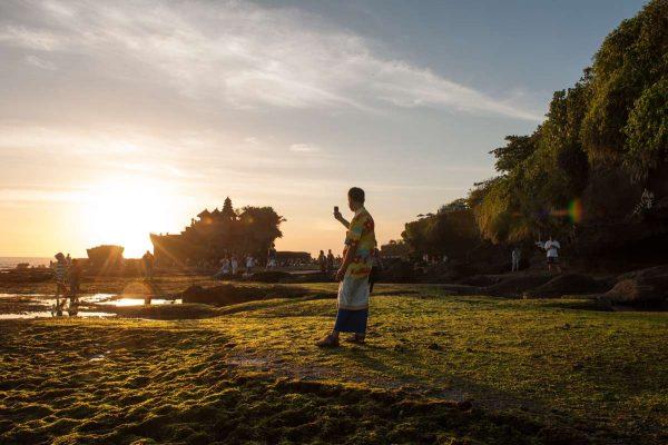 Indonesien-Bali-Tanah Lot am Abend zum Sonnenuntergang