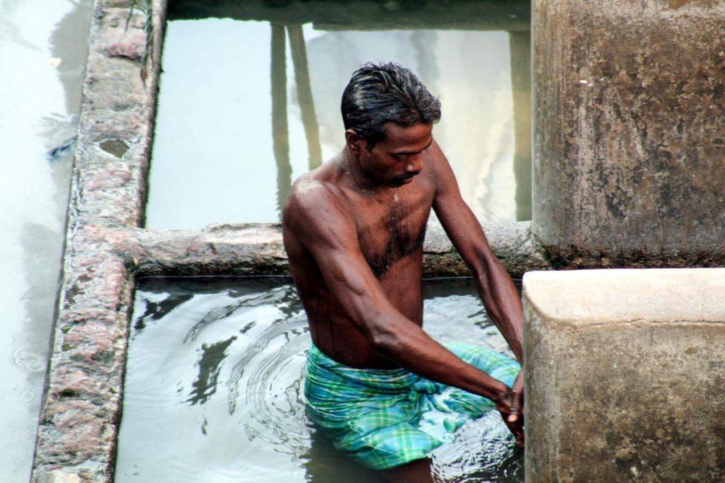 INDIEN-Mumbai-Dhobi wala, Arbeiter in der Wäscherei von Mahalakhsmi