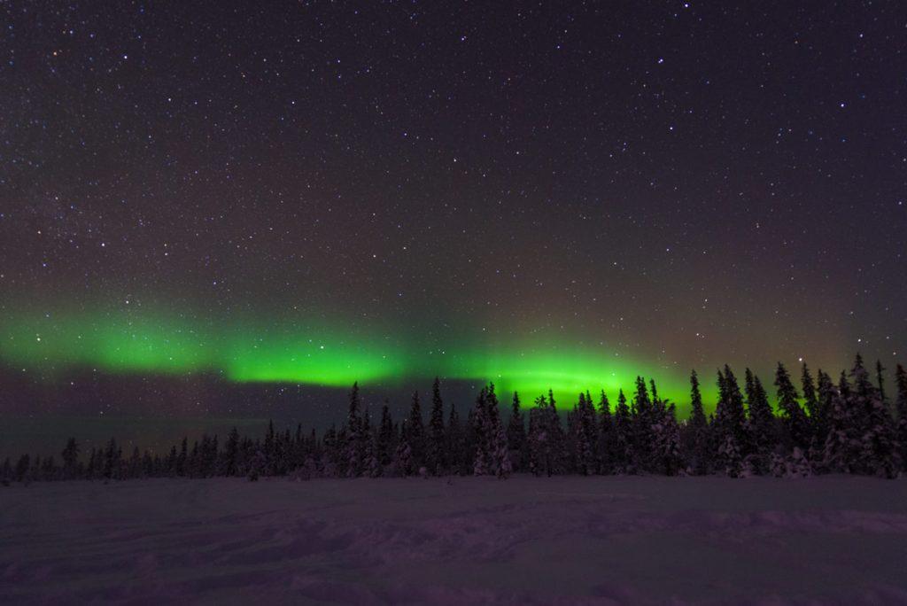 Schweden-Kiruna-Winterstimmung im Wald mit Nordlichtern