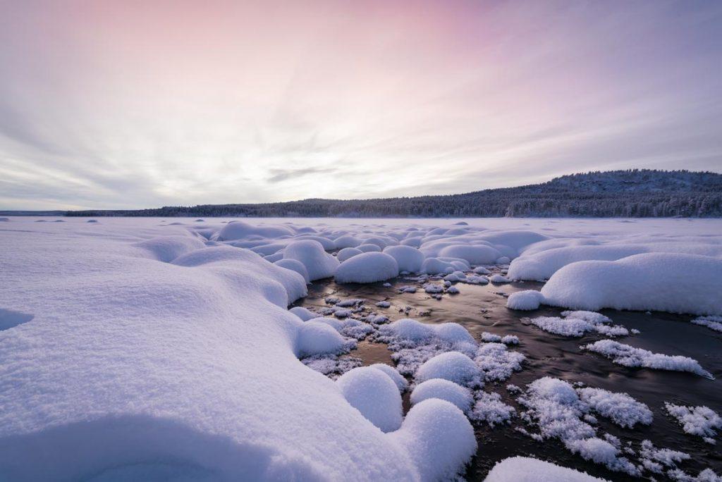 Schweden-Kiruna-See im Winter