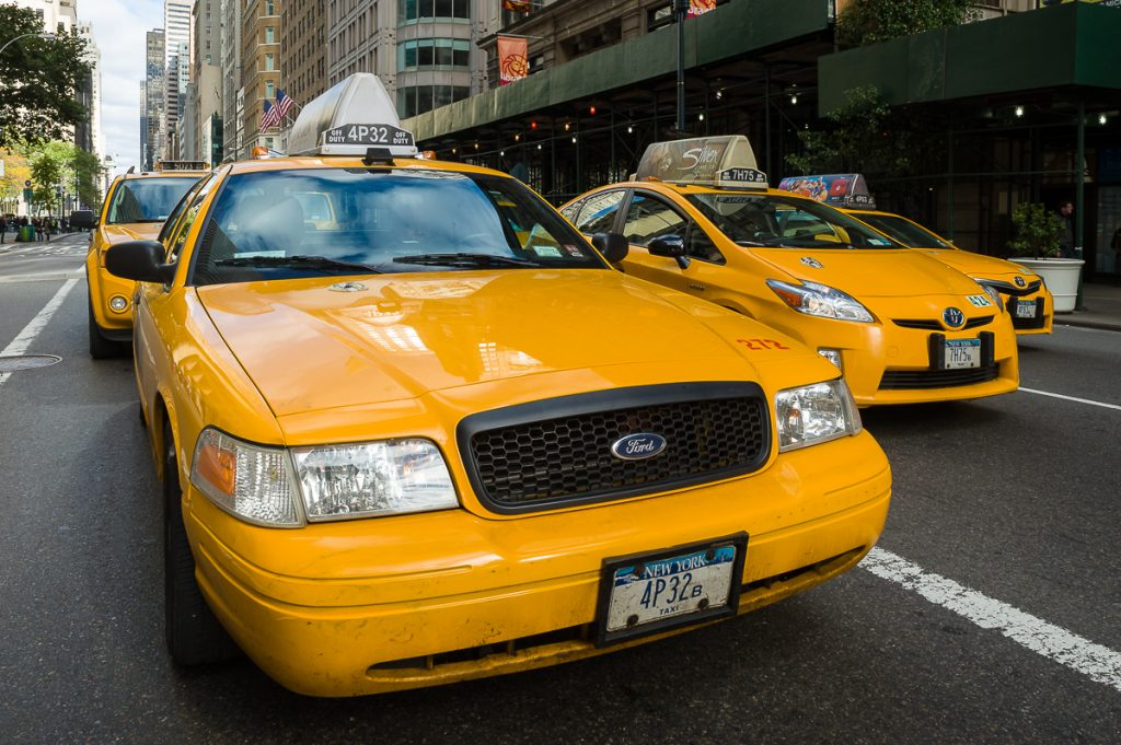 USA-NY-Taxis in Reihe